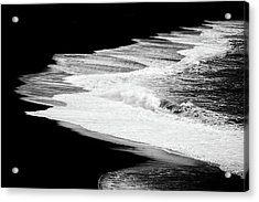 Acrylic Print featuring the photograph Black Beach And The Water Of The Ocean by Matthias Hauser