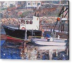 Black Boat Reflections Acrylic Print by Richard Nowak