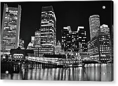 Black Boston Night Acrylic Print by Frozen in Time Fine Art Photography