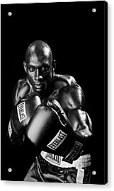 Black Boxer In Black And White 06 Acrylic Print by Val Black Russian Tourchin