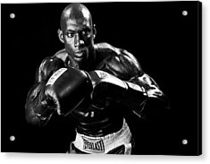 Black Boxer In Black And White 07 Acrylic Print by Val Black Russian Tourchin