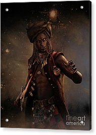 Acrylic Print featuring the digital art Black Caesar Pirate by Shanina Conway