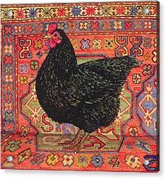 Black Carpet Chicken Acrylic Print by Ditz