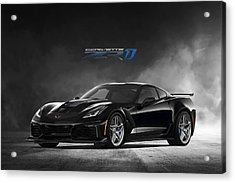 Black Cat Corvette Acrylic Print