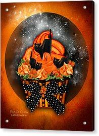 Black Cat Cupcake Acrylic Print by Carol Cavalaris