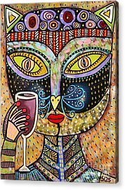 Black Cat Drinking Red Wine Acrylic Print