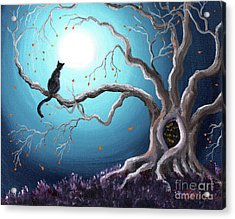 Black Cat In A Haunted Tree Acrylic Print by Laura Iverson