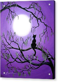 Black Cat In Mossy Tree Acrylic Print