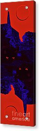 Black Cat Under A Blood Red Moon Acrylic Print by Jeff Breiman
