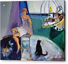Acrylic Print featuring the painting Black Cat Yellow Bird by Diane Ursin