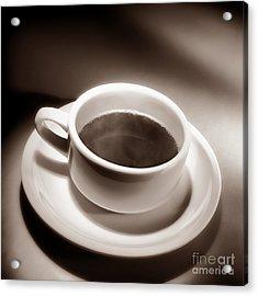Black Coffee White Cup Acrylic Print