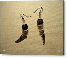 Black Dagger Earrings Acrylic Print by Jenna Green