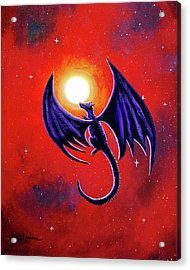 Black Dragon In A Red Sky Acrylic Print by Laura Iverson