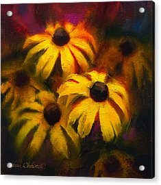 Acrylic Print featuring the painting Black Eyed Susans - Vibrant Flowers by Karen Whitworth