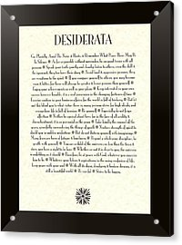 Black Border Sunburst Desiderata Poem Acrylic Print