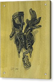 Black Gloves And Bibelot. Paradox Still Life Acrylic Print