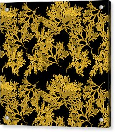 Acrylic Print featuring the mixed media Black Gold Leaf Pattern by Christina Rollo