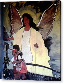 Black Guardian Angel Mural Acrylic Print