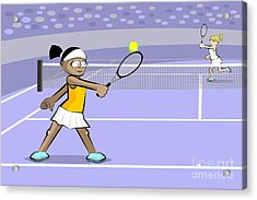 Black Hair Girl Playing Tennis Acrylic Print