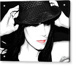 Acrylic Print featuring the painting Black Hat by Tbone Oliver