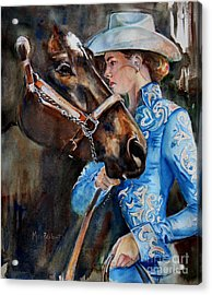 Black Horse And Cowgirl   Acrylic Print by Maria's Watercolor