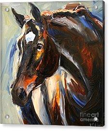 Black Horse Oil Painting Acrylic Print