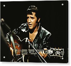 Black Leathers Elvis With Guitar Acrylic Print