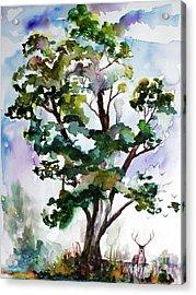 Black Locust Tree And Deer Landscape Portrait Acrylic Print