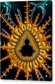 Black Mandelbrot Set Surrounded By Luxe Golden And Brown Tones Acrylic Print by Matthias Hauser
