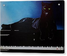Black Panther And His Piano Acrylic Print by Manuel Sanchez