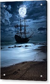 Black Pearl Pirate Ship Landing Under Full Moon Acrylic Print
