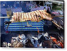 Acrylic Print featuring the photograph Black Pig Spit Roasted In Taiwan by Yali Shi