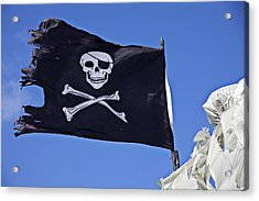 Black Pirate Flag  Acrylic Print by Garry Gay