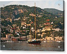 Black Sailboat At Villefranche II Acrylic Print by Steven Sparks
