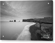 Black Sand Beach Bw Acrylic Print