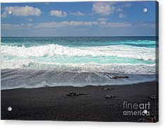 Black Sand Beach Acrylic Print by Delphimages Photo Creations
