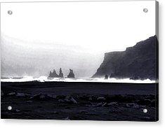 Black Sand Beach Of Vik Acrylic Print by Allen Beatty