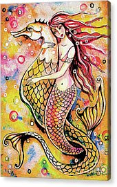 Acrylic Print featuring the painting Black Sea Mermaid by Eva Campbell