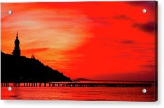 Black Sea Turned Red Acrylic Print by Reksik004