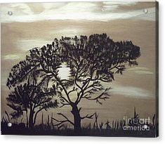 Black Silhouette Tree Acrylic Print