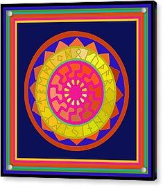 Black Sun Mandala Rune Calendar Acrylic Print