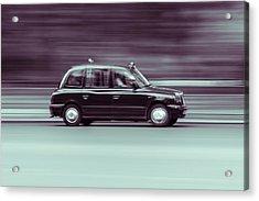 Black Taxi Bw Blur Acrylic Print
