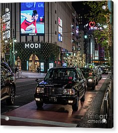 Black Taxi In Tokyo, Japan Acrylic Print