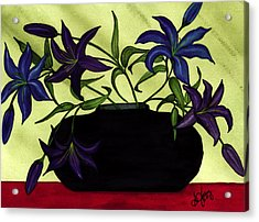 Black Vase With Lilies Acrylic Print by Stephanie  Jolley