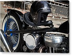 Black Vintage Style Motorcycle With Chrome And Black Helmet Acrylic Print