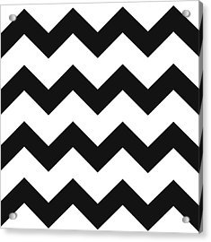 Acrylic Print featuring the mixed media Black White Geometric Pattern by Christina Rollo