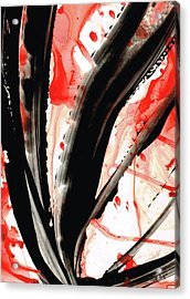 Acrylic Print featuring the painting Black White Red Art - Tango 2 - Sharon Cummings by Sharon Cummings