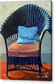 Black Wicker Chair Acrylic Print by Donald Maier