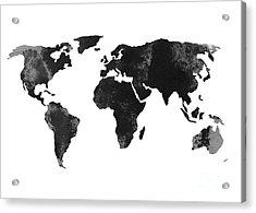 Black World Map Silhouette Acrylic Print by Joanna Szmerdt