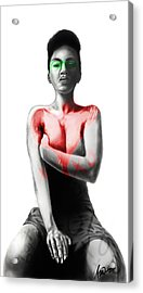 Acrylic Print featuring the digital art Black Xoxo by AC Williams
